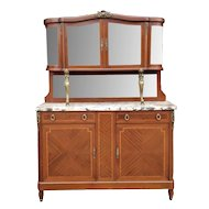 1950s French Louis XVI Style Walnut & Marble Top Dinning Room Hallway Cabinet