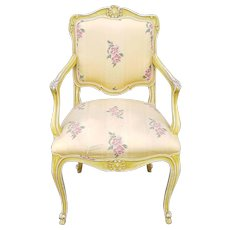 1960s Painted Yellow Worn French Louis XV Style Upholstered Armchair