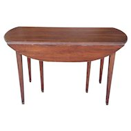 20th Century Mahogany Regency Style Brass Edge Drop Leaf Dining Room Table w/ 4 Leaves c1950