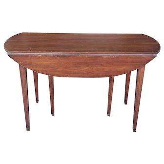 20th Century Mahogany Regency Style Brass Edge Drop Leaf Dining Room Table w/ 4 Leaves c1950