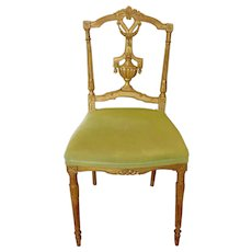 Fine 1920s French Petite Size Worn Gilt Parlor Side Chair