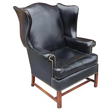 Vintage Hickory Chair Co. Black Vinyl Upholstered English Style Wingback Library Armchair c1960s