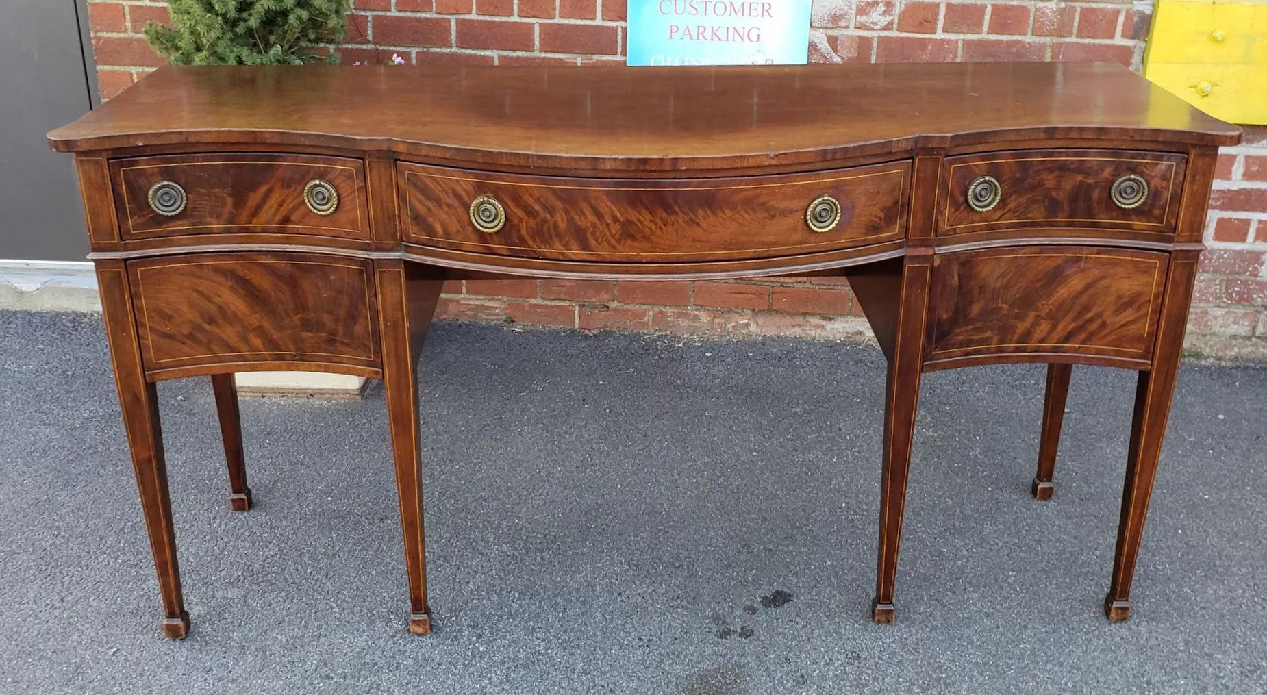 1940s Sheraton Style Serpentine Mahogany Dining Room Sideboard : Chatsworth Antiques | Ruby Lane