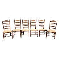 Set 6 Maple Woven Rush Seated Ladder Back Country Dining Room Chairs c.1990s