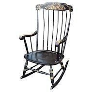 Vintage 1970s Black Hitchcock Style Painted Nichols & Stone Co. Rocking Chair Rocker