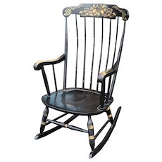 Vintage 1970s Black Hitchcock Style Painted Nichols & Stone Co. Rocking Chair Rocker