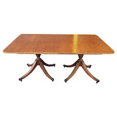 Vintage 1940s Baker Furniture Line Banded Mahogany Double Pedestal Dining table w/ 3 leaves