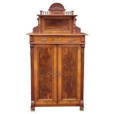 Antique 19th Century American Victorian Renaissance Burl Walnut Tall Cabinet c1880