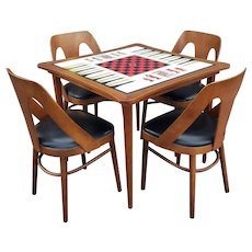 Vintage L& B Products 1960s Lawrence Peabody Style Laminate Game Table w/ 4 Sculptural Chairs