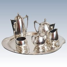 Mid Century 1950s 6 Piece Mexican Sterling Silver Avalos Mexico City Tea Set Approx 140Toz