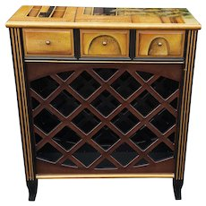 Very Nice Recent Paint Decorated French Paris Scene Wine Rack Cabinet c1990s