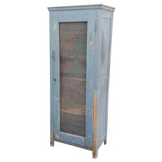 Very Nice Antique Rustic Pine Country Blue Painted Chicken Wire Single Door Cabinet Cupboard c1890