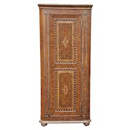 1990s  Painted Faux Leather Decorated Narrow Corner Cabinet Cupboard