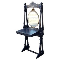 Unusual Antique Victorian Aesthetic Movement Black Standing Dressing Table Desk Vanity w/ Mirror c1890.