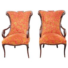 Pair Antique 1920s Carved Mahogany Hollywood Regency Style Upholstered Fireside Armchairs