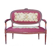 1950s French Louis XV Style Needlepoint Living Room Settee