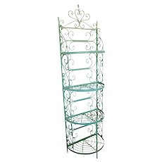 Mid Century 1950s Woodard Green Painted Wrought Iron Narrow Half Moon Curved Front Bakers Rack Shelf
