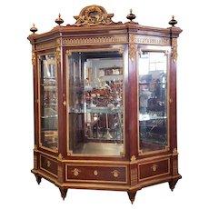 Important French Louis XVI Style Guillaume Grohe Paris Dore Gilt Bronze & Mahogany Armoire Vitrine Cabinet c1860
