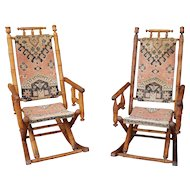 Pair Antique Fancy Victorian Era Eastlake Turned Post National Chair Manufacturing Co Carpet Rockers c1880