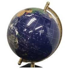 "12"" Diameter Lapis Blue Gemstone Globe On Stand 1990s"