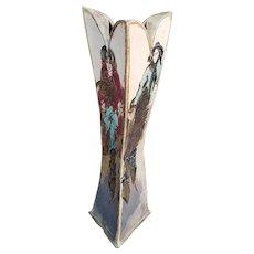 Large Sculptured Triple Sided Steven & Susan Kemenyffy Raku-Fired Ceramic Floor Vase PA 1980s
