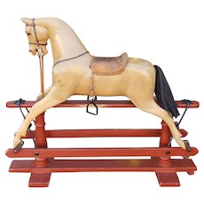 Antique English Edwardian FH Ayres Carved Wood Platform Rocking Horse c1920s