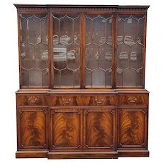 1940s Mahogany Frederick Tibbenham English Georgian Flame Mahogany Dining Room Breakfront Cabinet