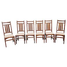 Set 6 1990s Gustav Stickley Harvey Ellis Designed Mission Oak Dining Room Side Chairs