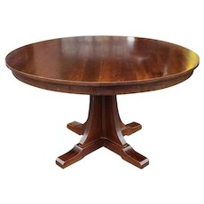 "1990s Stickley Mission Oak Arts & Crafts 52"" Round Pedestal Dining Room Table w/ 2 leaves"