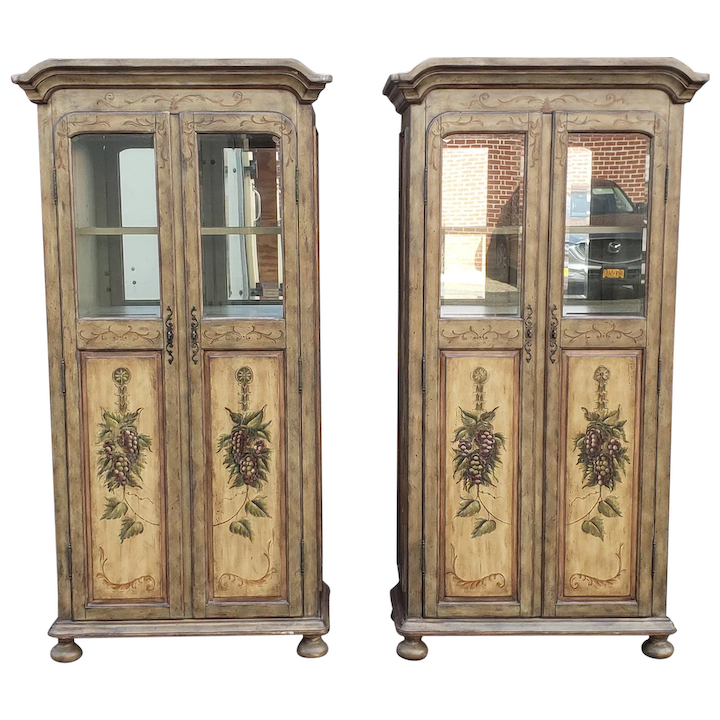 Pair Contemporary Country Painted Grape Motif Dining Room Armoire Bar  Cabinets c1990s