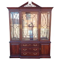 Mahogany Chippendale Style Thomasville Dining Room Breakfront China Cabinet c1990s