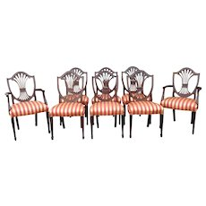 Set 8 Mahogany Stickley Furniture Monroe Place Hepplewhite Style Dining Room Chairs Model #4587