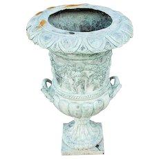 """Vintage 1950s Bronze Rams Head & Cherub Adorned 30"""" H Pedestal Urn"""