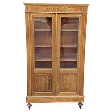 Antique French Regency Brass Inlaid Mahogany 2 Door Cabinet c1900