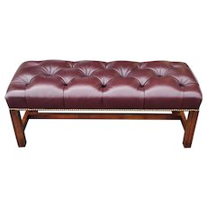 Burgundy Tufted Leather English Chippendale Style Bedroom Library Bench c1990