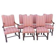 Set 6 1920s Jacobean Leonardo Furniture Walnut Renaissance Revival Dining Room Chairs