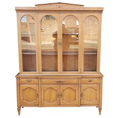 1950s Fruitwood Italian Provincial Dining Room China Cabinet