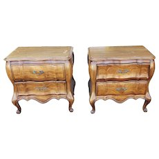 Pair French Provincial Cherry White Fine Furniture Bedroom Night Table Stands 1960s