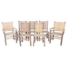 Set 7 Vintage 1980s Old Hickory Rustic Log Dining Room Tavern Chairs