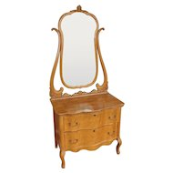 Antique Late Victorian Birds-Eye Maple 2 Drawer Princess Dresser w/ Swivel Mirror c1900