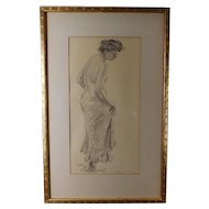 "Signed Ben Solowey (PA 1900-1978) Original Conte Crayon Drawing Of Lady ""Curtsy"""