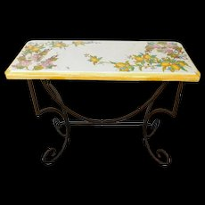"Hand Painted Italian Tuscan Ceramic Top & Wrought iron Hallway Console Table ""La Chimera"""