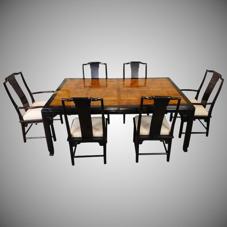 1980s Century Furniture Raymond K Sobota Chin Hua Collection Asian Style Dining Room Table