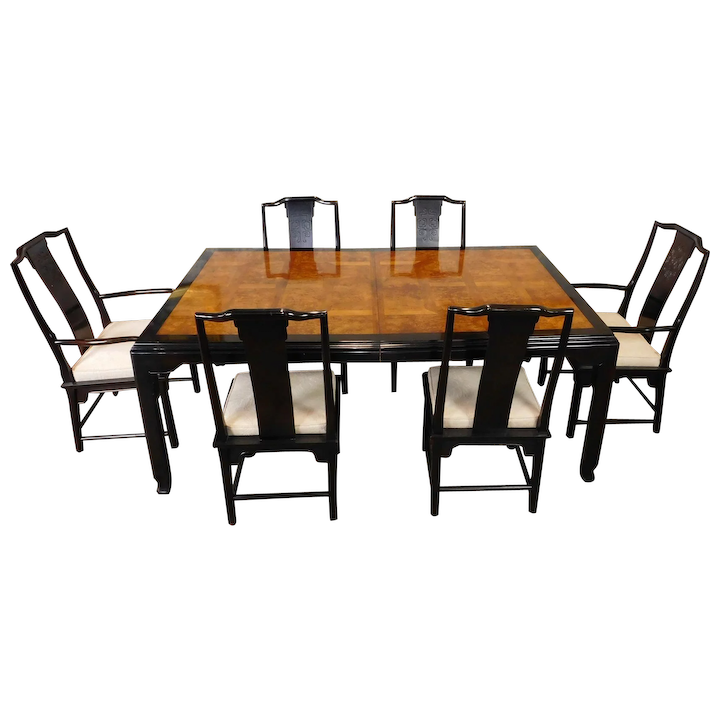 Excellent 1980S Century Furniture Raymond K Sobota Chin Hua Collection Asian Style Dining Room Table 6 Chairs Download Free Architecture Designs Rallybritishbridgeorg