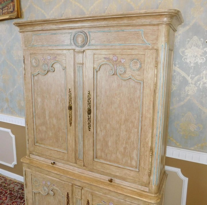 Large Country French Baker Furniture Paint Decorated Armoire ~ Bar Cabinet  ~ 1980s