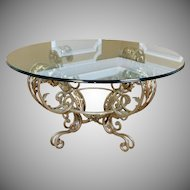 "Contemporary Silver Chrome Colored Metal Base Glass Top 42"" Diameter Coffee Cocktail Table"