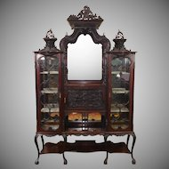 Antique Edwardian Carved Mahogany Etagere Vitrine Cabinet c1900