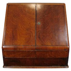 Antique English  Georgian Table Top Mahogany Stationary Document Box Cabinet ~ Enclosed Writing Desk  c1860