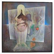 "Cees Brokke (Dutch 1919-2016) ""Adam & Eve"" Oil On Board Painting c1970 49 X 49"