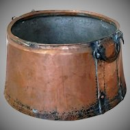 Large Antique 19th Century Double Handled English Hammered Copper Cauldron ~ 22 X 15